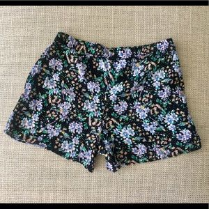 Anthropologie Navy Blue Floral Shorts